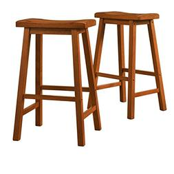 Set of 2 Honey Oak Country Style Saddle Back Solid Wood Bar