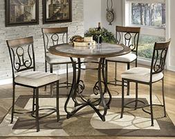 GTU Furniture 5pc Hops Metal Round Marble Table & Chairs Din