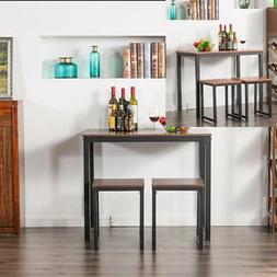 HOT 2 Color 3 Piece Counter Height Dining Set Wood Table and
