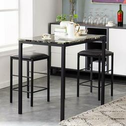 Hot 3 Piece Dining Table Set Counter Height Table 2 Chairs K