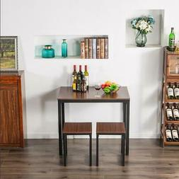 Hot 3 Piece Metal Dining Table Set 2 Chairs Kitchen Breakfas