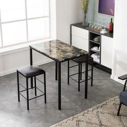 Hot Style Metal Breakfast 3 Piece Dining Table Set 2 Chair M