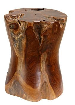 Bare Decor Hourglass Artisan Accent Solid Teak Wood Tree Stu