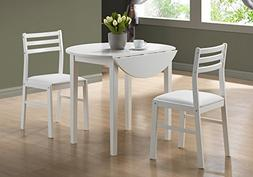 Monarch Specialties INC I 1008 White 3pcs dining set with a