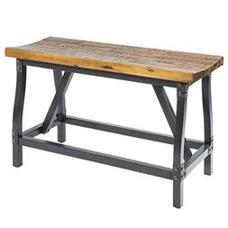 Industrial Rustic Wood and Metal Counter Height Gathering Di