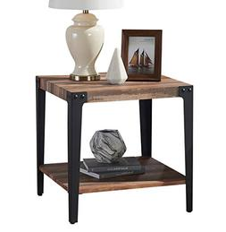 O&K Furniture Industrial Square Side End Table with Lower Sh