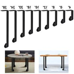Industrial Straight Coffee Table Leg Set of 4 Metal Solid Be