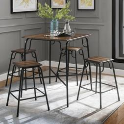 Industrial Style 5-Piece Counter Height Table Set Table with