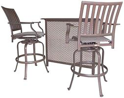 Panama Jack Outdoor Island Breeze 3-Piece Slatted Bar Table