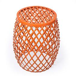 Adeco Home Garden Accents Wire Round Iron Metal Stool Side E