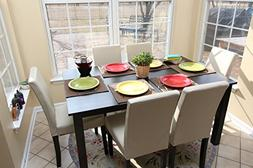 7 pc Ivory Leather 6 Person Table and Chairs ivory Dining Di