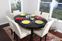 Ivory Leather 7pc Oval Solid Top Dining Table Contemporary C