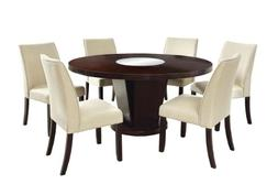 Furniture of America Janna 7 Piece Round Dining Set in Espre