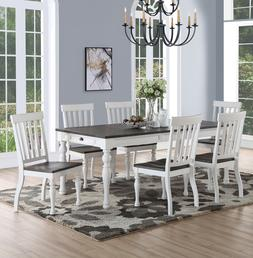 Steve Silver 7 Piece Joanna Dining Set in Ivory and Charcoal
