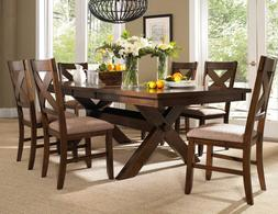 Roundhill Furniture Karven 7-Piece Solid Wood Dining Set wit