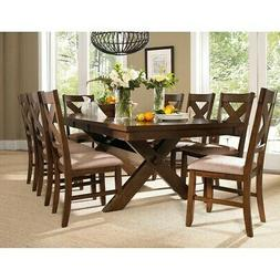 Roundhill Furniture Karven 9-Piece Solid Wood Dining Set wit