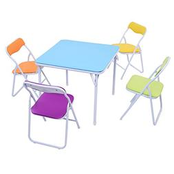Costzon Kids Table and Chair Set, 5 Piece Colorful Folding P