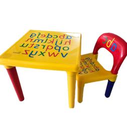 Kids Plastic Table and 1 Chair Set Vibrant Colors Letters Ed