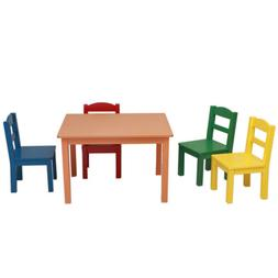 Kids Table and Chair Set 5-Piece Natural Wood Activity Table
