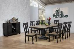 Kings Brand Alleyton 10 Piece Charcoal Oak Dining Set, Table
