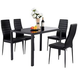 Giantex 5 Piece Kitchen Dining Table Set with Glass Table To