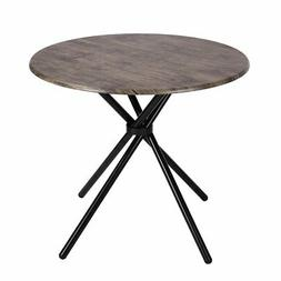 Kitchen Dining Table Industrial Brown Round Mid-Century Wood