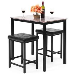 Kitchen Marble Table Dining Set w/ 2 Counter Height Stools-B