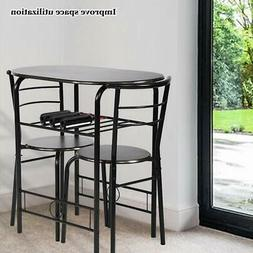 Kitchen Table Dining Set steel metal chairs SMALL SPACE 2 pe