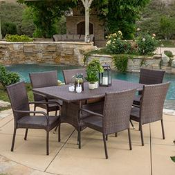 Kory Outdoor 7pc Multibrown Wicker Dining Set
