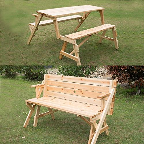 Outsunny 2 In 1 Convertible Picnic Table &