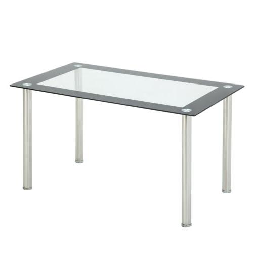 "47""/53""L Glass Dining Table w/Metal Legs Breakfast Dining"