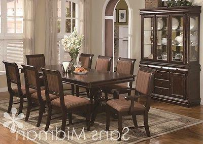 10 piece bordeaux formal dining room table