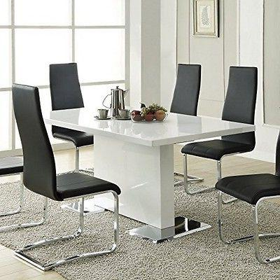 Coaster Table Glossy White