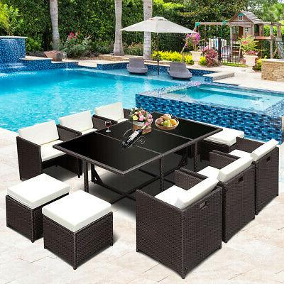 11 PCS Outdoor Patio Dining Set Rattan Wicker Furniture Gard