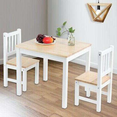 Solid Dining Table And 2 Chairs Set Wooden Kitchen Furniture