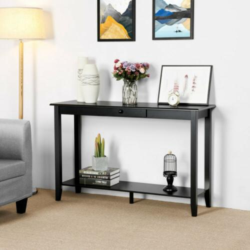Console Sofa Table with Drawer and Storage Shelf for Hallway