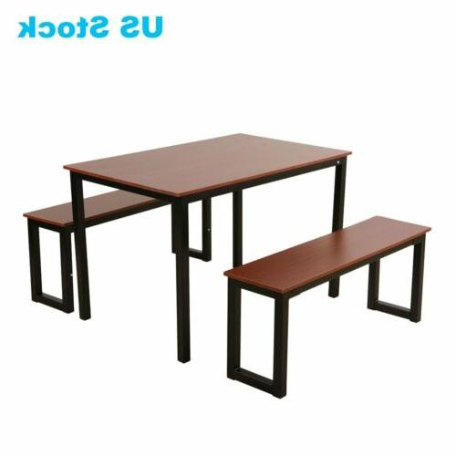 3 5 7 Piece Dining Set Benches 4 Glass Metal Room
