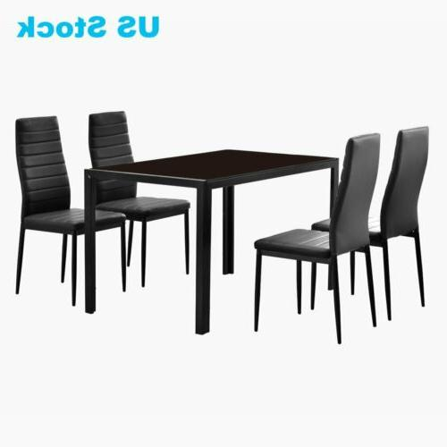 3 7 Piece Dining Table Benches Chairs Glass Wood Metal Room