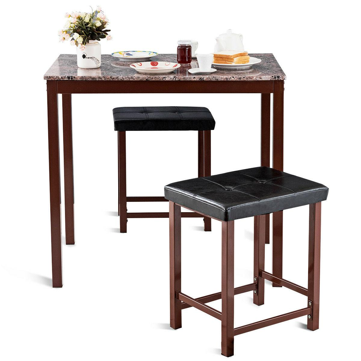 3 Counter Height Dining Marble Table 2 Chairs Kitchen Bar