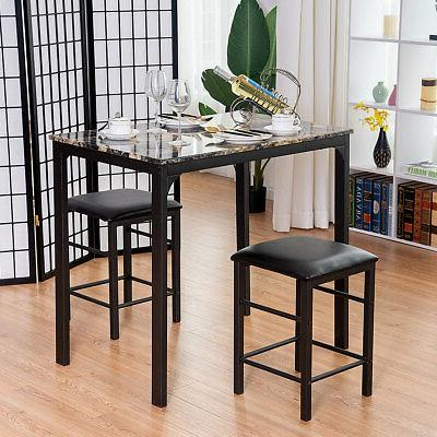 3 Counter Height Dining Set Table 2 Chairs Bar