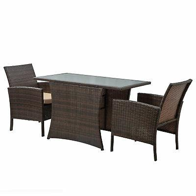 3-Pcs Patio Dining Set All-Weather Wicker Table & Cushioned