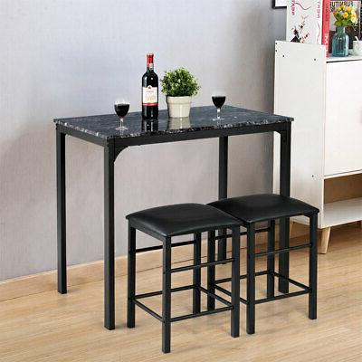 3 Pieces Counter Height Table Set 2 Bar Dining Faux Marble