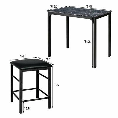 3 Height Table Bar Room Faux Marble Black
