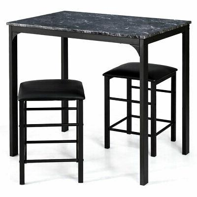 3 Piece Counter Height Dining Table Bar Black