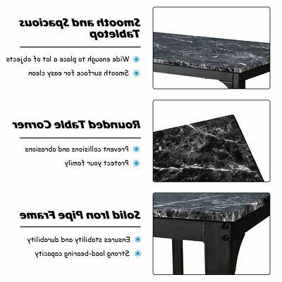 3 Pieces Counter Table 2 Chairs Bar Room Marble