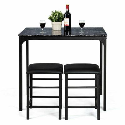 3 Table 2 Chairs Bar Dining Faux