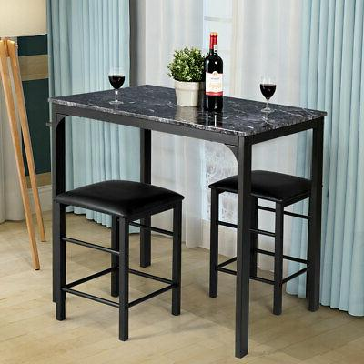 3 Counter Height Dining Marble Table Bar