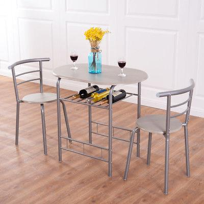 3 Piece Dining Set Table 2 Chairs Bistro Pub Home Kitchen Br
