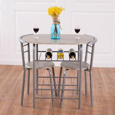 3 Piece Table Chairs Pub Kitchen Furniture