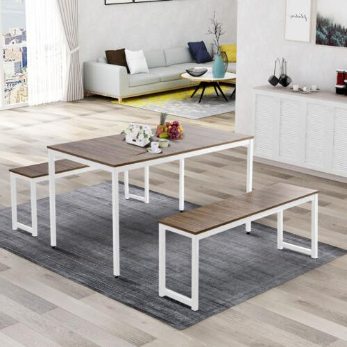 3 Dining Table 2 Bench Wood Room Furniture